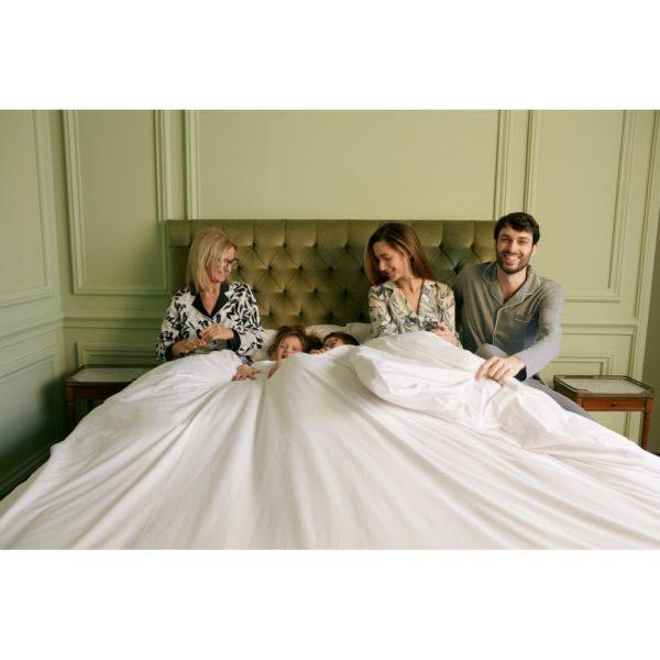 Parure de lit percale de coton blanc 120 fils - Maison Lys (1)