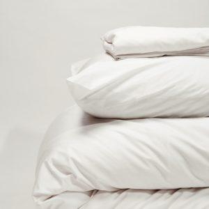 Parure de lit percale de coton blanc 120 fils - Maison Lys (3)
