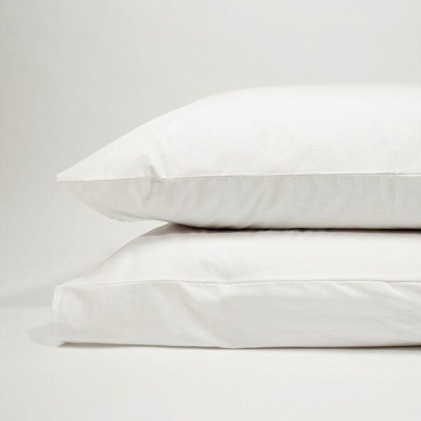 Taie d'oreiller percale de coton blanc 1 - Maison Lys