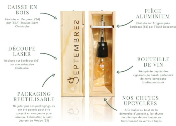 Lampe bouteille de vin artisanale design 2 - Septembres