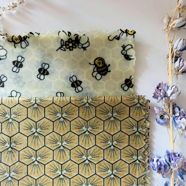 Bee wraps (emballage alimentaire réutilisable) abeilles - Anna et Jade