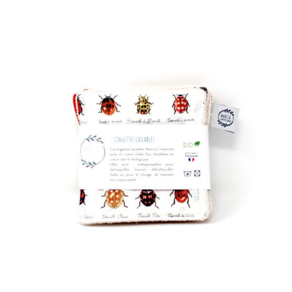 Lingettes lavables bio Coccinelles - Marcia Créations