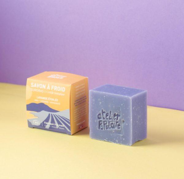Savon artisanal bio saponifié à froid parfumé 90g Lavande étoilée - Atelier Populaire
