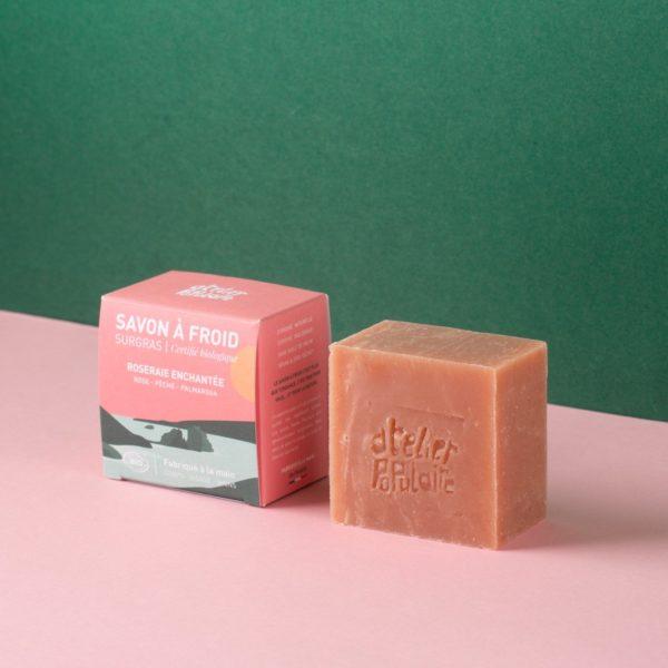 Savon artisanal bio saponifié à froid parfumé 90g Roseraie enchantée - Atelier Populaire