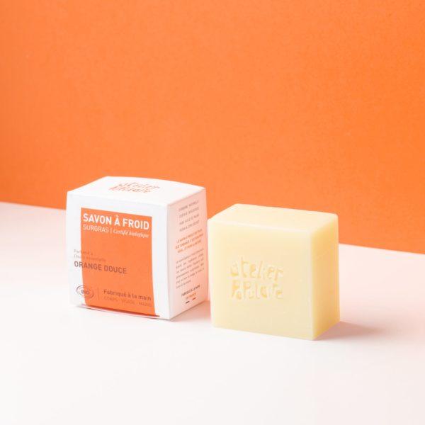 Savon surgras bio à froid parfumé 90g Orange douce - Atelier Populaire
