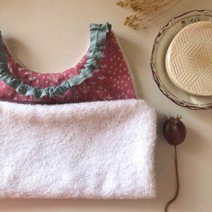 Serviette de cantine avec élastique lavable 2 - Anna et Jade