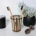 Porte brosse à dents en bois artisanal - Edobois