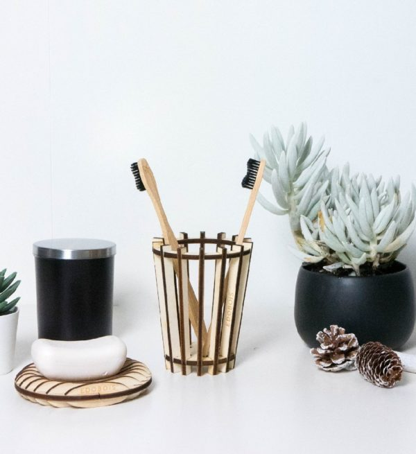 Porte brosse à dents en bois artisanal - Edobois 2